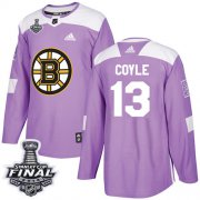 Wholesale Cheap Adidas Bruins #13 Charlie Coyle Purple Authentic Fights Cancer 2019 Stanley Cup Final Stitched NHL Jersey