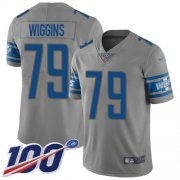 Wholesale Cheap Nike Lions #79 Kenny Wiggins Gray Youth Stitched NFL Limited Inverted Legend 100th Season Jersey