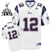 Wholesale Cheap Patriots #12 Tom Brady White Super Bowl XLVI Embroidered NFL Jersey