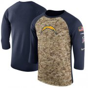 Wholesale Cheap Men's Los Angeles Chargers Nike Camo Navy Salute to Service Sideline Legend Performance Three-Quarter Sleeve T-Shirt