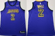 Wholesale Cheap Nike Lakers #2 Lonzo Ball Purple 2018-2019 Swingman Jersey - City Edition