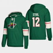 Wholesale Cheap Minnesota Wild #12 Eric Staal Green adidas Lace-Up Pullover Hoodie