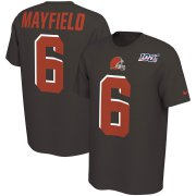 Wholesale Cheap Cleveland Browns #6 Baker Mayfield Nike NFL 100th Season Player Pride Name & Number Performance T-Shirt Brown