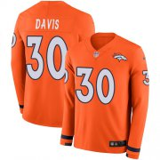 Wholesale Cheap Nike Broncos #30 Terrell Davis Orange Team Color Men's Stitched NFL Limited Therma Long Sleeve Jersey