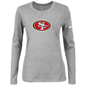 Wholesale Cheap Women\'s Nike San Francisco 49ers Of The City Long Sleeve Tri-Blend NFL T-Shirt Light Grey