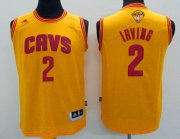 Wholesale Cheap Men's Cleveland Cavaliers #2 Kyrie Irving Yellow 2017 The NBA Finals Patch Jersey