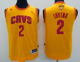 Wholesale Cheap Men\'s Cleveland Cavaliers #2 Kyrie Irving Yellow 2017 The NBA Finals Patch Jersey