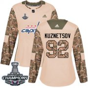 Wholesale Cheap Adidas Capitals #92 Evgeny Kuznetsov Camo Authentic 2017 Veterans Day Stanley Cup Final Champions Women's Stitched NHL Jersey