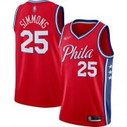 Wholesale Cheap 76ers #25 Ben Simmons Red Basketball Swingman Statement Edition 2019-2020 Jersey