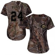 Wholesale Cheap Reds #24 Tony Perez Camo Realtree Collection Cool Base Women's Stitched MLB Jersey
