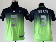 Wholesale Cheap Nike Seahawks #3 Russell Wilson Steel Blue/Green Youth Stitched NFL Elite Fadeaway Fashion Jersey