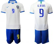 Wholesale Cheap Brazil #9 G.Jesus White Soccer Country Jersey