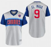 "Wholesale Cheap Cubs #9 Javier Baez Gray ""El Mago"" 2019 Little League Classic Stitched MLB Jersey"