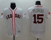 Wholesale Cheap Red Sox #15 Dustin Pedroia White Fashion Stars & Stripes Flexbase Authentic Stitched MLB Jersey