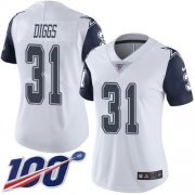 Wholesale Cheap Nike Cowboys #31 Trevon Diggs White Women's Stitched NFL Limited Rush 100th Season Jersey