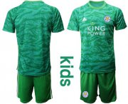 Wholesale Cheap Leicester City Blank Green Goalkeeper Kid Soccer Club Jersey