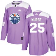 Wholesale Cheap Adidas Oilers #25 Darnell Nurse Purple Authentic Fights Cancer Stitched NHL Jersey