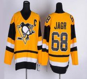 Wholesale Cheap Penguins #68 Jaromir Jagr Yellow CCM Throwback Stitched NHL Jersey