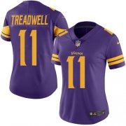 Wholesale Cheap Nike Vikings #11 Laquon Treadwell Purple Women's Stitched NFL Limited Rush Jersey