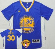 Wholesale Cheap Men's Golden State Warriors #30 Stephen Curry Blue Short-Sleeved White 2017 The NBA Finals Patch Jersey
