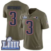 Wholesale Cheap Nike Patriots #3 Stephen Gostkowski Olive Super Bowl LIII Bound Men's Stitched NFL Limited 2017 Salute To Service Jersey