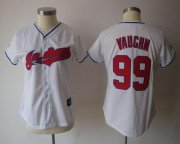 Wholesale Cheap Indians #99 Ricky Vaughn White Women's Fashion Stitched MLB Jersey