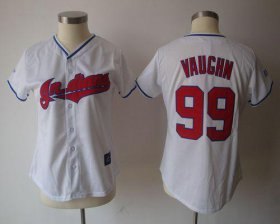 Wholesale Cheap Indians #99 Ricky Vaughn White Women\'s Fashion Stitched MLB Jersey