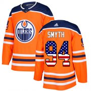 Wholesale Cheap Adidas Oilers #94 Ryan Smyth Orange Home Authentic USA Flag Stitched NHL Jersey