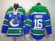 Wholesale Cheap Canucks #16 Trevor Linden Blue Sawyer Hooded Sweatshirt Stitched NHL Jersey