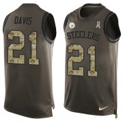 Wholesale Cheap Nike Steelers #21 Sean Davis Green Men's Stitched NFL Limited Salute To Service Tank Top Jersey