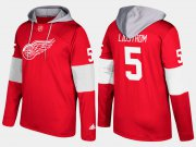 Wholesale Cheap Red Wings #5 Nicklas Lidstrom Red Name And Number Hoodie