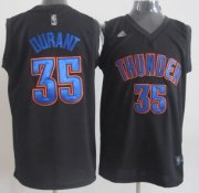 Wholesale Cheap Oklahoma City Thunder #35 Kevin Durant Black With Blue Fashion Authentic Jersey