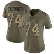 Wholesale Cheap Nike Colts #74 Anthony Castonzo Olive/Camo Women's Stitched NFL Limited 2017 Salute To Service Jersey
