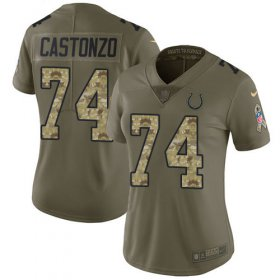 Wholesale Cheap Nike Colts #74 Anthony Castonzo Olive/Camo Women\'s Stitched NFL Limited 2017 Salute To Service Jersey