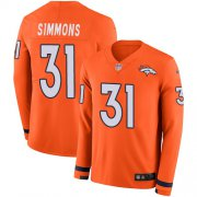 Wholesale Cheap Nike Broncos #31 Justin Simmons Orange Team Color Men's Stitched NFL Limited Therma Long Sleeve Jersey