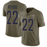 Wholesale Cheap Nike Rams #22 Marcus Peters Olive Youth Stitched NFL Limited 2017 Salute to Service Jersey