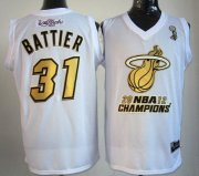 Wholesale Cheap Miami Heat #31 Shane Battier 2012 NBA Finals Champions White With Gold Jersey