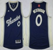 Wholesale Cheap Oklahoma City Thunder #0 Russell Westbrook Revolution 30 Swingman 2015 Christmas Day Navy Blue Jersey