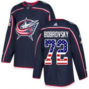 Wholesale Cheap Adidas Blue Jackets #72 Sergei Bobrovsky Navy Blue Home Authentic USA Flag Stitched Youth NHL Jersey