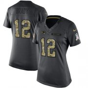 Wholesale Cheap Nike Patriots #12 Tom Brady Black Women's Stitched NFL Limited 2016 Salute to Service Jersey