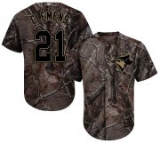 Wholesale Cheap Blue Jays #21 Roger Clemens Camo Realtree Collection Cool Base Stitched Youth MLB Jersey
