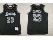Wholesale Cheap Men's Los Angeles Lakers #23 LeBron James Black With Silver Hardwood Classics Soul Swingman Throwback Jersey