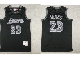 Wholesale Cheap Men\'s Los Angeles Lakers #23 LeBron James Black With Silver Hardwood Classics Soul Swingman Throwback Jersey