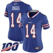 Wholesale Cheap Nike Bills #14 Stefon Diggs Royal Blue Team Color Women's Stitched NFL 100th Season Vapor Untouchable Limited Jersey