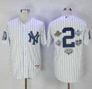Wholesale Cheap Yankees #2 Derek Jeter White Strip Five Times World Series Champion Stitched MLB Jersey