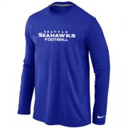 Wholesale Cheap Nike Seattle Seahawks Authentic Font Long Sleeve T-Shirt Blue