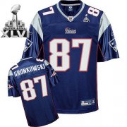 Wholesale Cheap Patriots #87 Rob Gronkowski Dark Blue Super Bowl XLVI Embroidered NFL Jersey