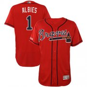 Wholesale Cheap Braves #1 Ozzie Albies Red Flexbase Authentic Collection Stitched MLB Jersey