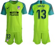 Wholesale Cheap Atletico Madrid #13 Oblak Shiny Green Goalkeeper Soccer Club Jersey