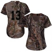 Wholesale Cheap Royals #13 Salvador Perez Camo Realtree Collection Cool Base Women's Stitched MLB Jersey